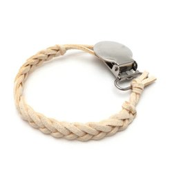 Suede Pacifier Clip - Ivory