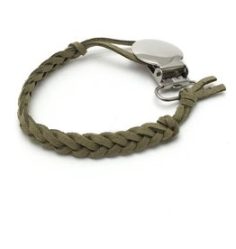 Suede Pacifier Clip - Olive