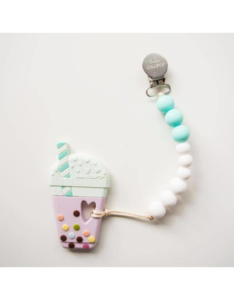 Bubble Tea Silicone Teether - Aqua
