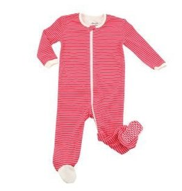Organic Cotton Footie Candy Cane Stripe