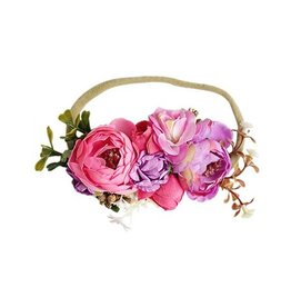 Floral Stretch Headband - Pink & Purple