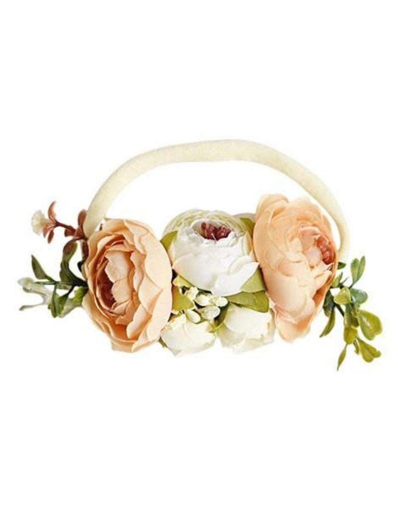 Floral Stretch Headband - Ivory & Peach