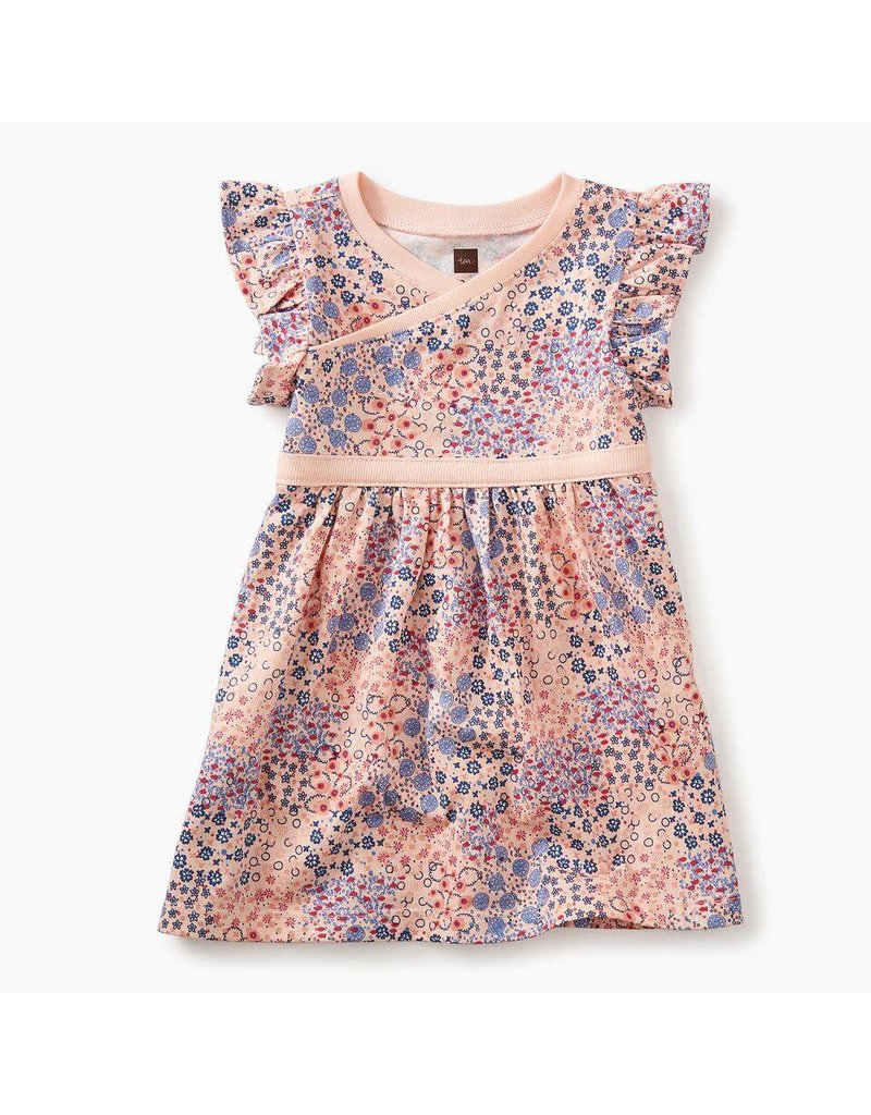 Floral Patch Wrap Neck Baby Dress
