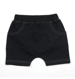 French Terry Pull-on Shorts, Black