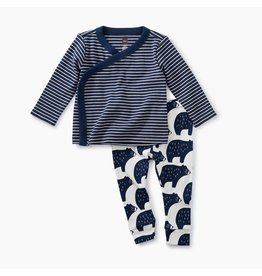 Wrap Top Baby Outfit, Indigo Bear