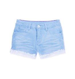 Girls Shorts with Fray Distress, Super Light Denim