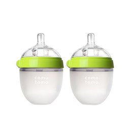 Comotomo Natural Feel Baby Bottle, Green 5 oz Double