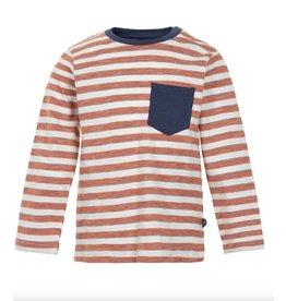 Orange Stripe Long Sleeve Tee w/ Pocket