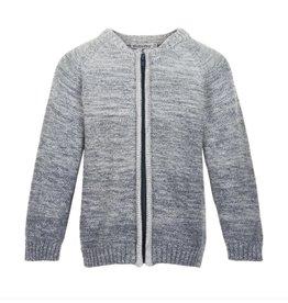 Grey Melange Cotton Zip Up