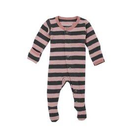 Organic Footed Sleeper, Mauve/Gray Stripe