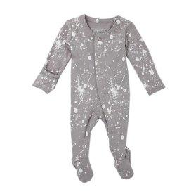 Organic Footed Sleeper, Light Gray Splatter
