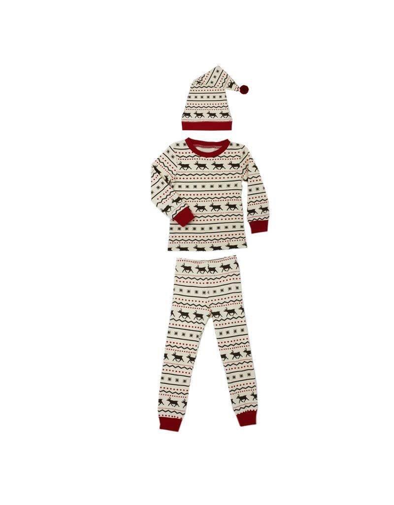 Organic Kids PJ & Cap Set, Fair Isle Reindeer