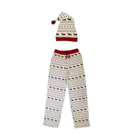 Organic Men's PJ Pants & Cap, Fair Isle Reindeer