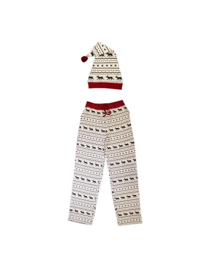 Organic Men's PJ Pants & Cap, Fair Isle Reindeer