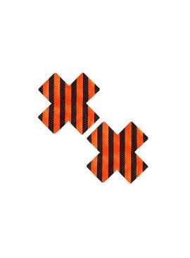 Neva Nude Pasties Orange and Black Striped 'X' Pasties