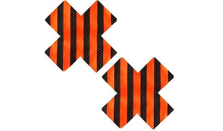 Neva Nude Orange and Black Striped 'X' Pasties