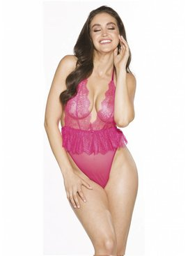 L Floor Teddy Ruffled Pink Teddy - Plus Size