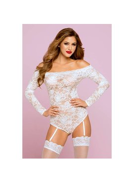 L Floor Teddy Off-Shoulder White Teddy