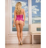 Expose Lingerie Pink Lace and Ruffle Teddy