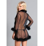 BeWicked Lingerie Sheer Marabou Robe