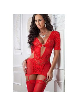 L Web Only Sexy Sleeved Chemise
