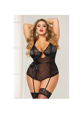 L Floor Teddy Mixed Lace Teddy - Plus Size
