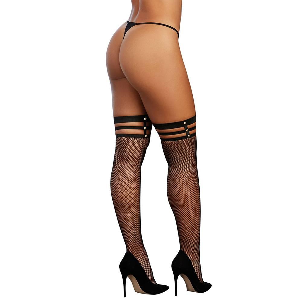 Dreamgirl Lingerie Strappy Fishnet Stockings