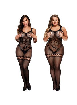 L Body Stockings Mixed Mesh Bodystocking