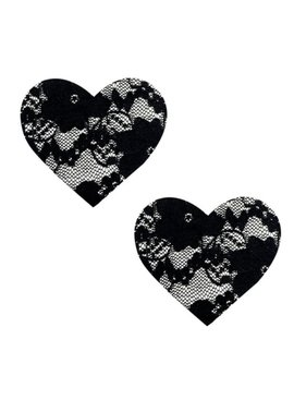 NA Neva Nude Black Lace Heart Pasties
