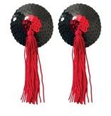 Peekaboo Pasties Black Sequin Red Tassel Pasties