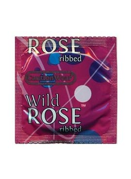 Paradise Condoms Caution Wear Wild Rose Condom