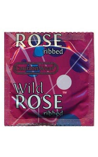 Paradise Condoms Caution Wear Wild Rose Condom
