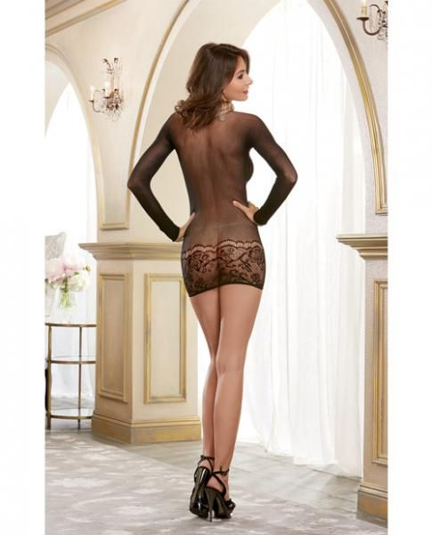 Dreamgirl Lingerie Sheer Lace Versatile Bodystocking & Dress (black)