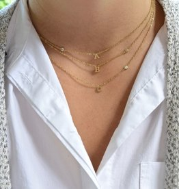"Everyday Floating Letter Necklace Gold ""E"""