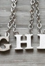 """Everyday Floating Letter Necklace Silver """"C"""""""