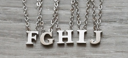 """Everyday Floating Letter Necklace SIlver """"M"""""""