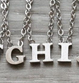 """Everyday Floating Letter Necklace Silver """"W"""""""