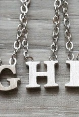 """Everyday Floating Letter Necklace Silver """"X"""""""
