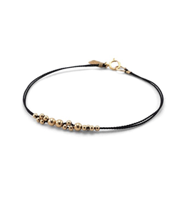 Everyday Gold Ball & Black Silk Bracelet