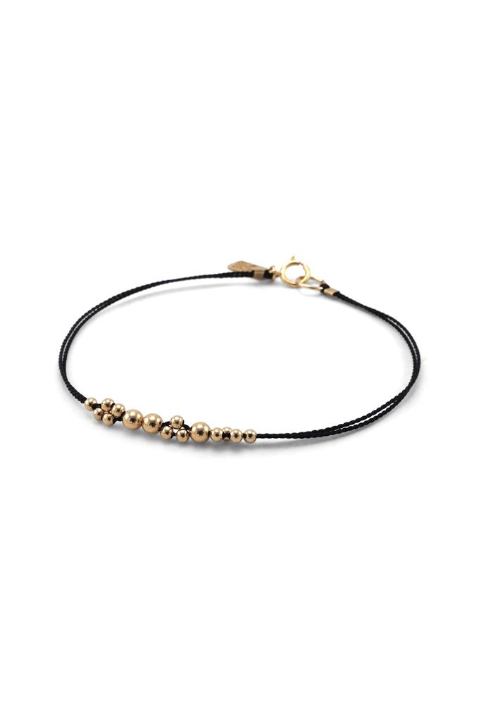Everyday Gold Ball & Black Silk Bracelet