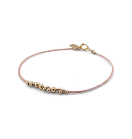 Everyday Gold Ball & Blush Silk Bracelet