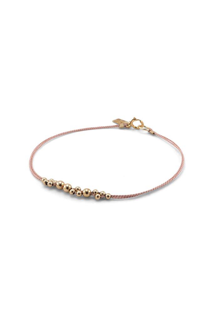 Everyday Gold Balls & Blush Silk Bracelet