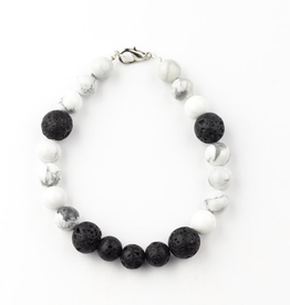 Everyday Howlite & Lava Bead Leather Rope Bracelet