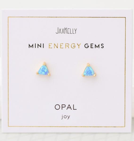 Everyday Mini Triangle Gem Earrings - Opal