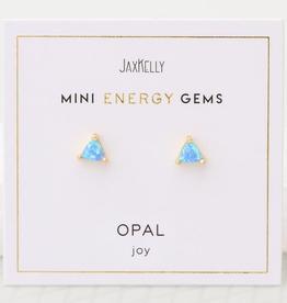 Everyday Mini Triangle Gem Earrings - Opal
