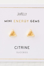 Everyday Mini Triangle Gem Earrings - Citrine