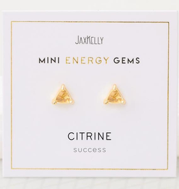 Everyday Mini Triangle Gem Earrings - Citrine