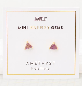 Everyday Mini Triangle Gem Earrings - Amethyst