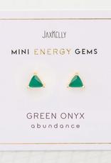 Everyday Mini Triangle Gem Earring - Green Onyx