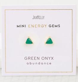 Everyday Mini Triangle Gem Earrings - Green Onyx